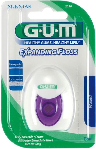 GUM Fil Dentaire Expanding Floss 30m | Fil dentaire - Brossette interdentaire