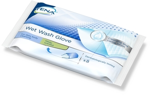 Tena Wet Wash Gloves Mildly Scented 8