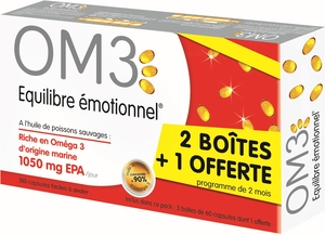 OM3 Classic Pack Equilibre Emotionel 3 x 60 Capsules (dont 60 offertes)