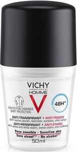 Vichy Homme Déodorant Anti-Transpirant et Anti-Tâches 48h Roll-On 50ml