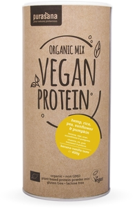 Purasana Organic Mix Vegan Protein Bio Hemp-Rice-Pea-Sunflower-Pumpkin (banana-vanilla) 400g